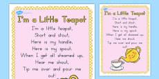 I'm a Little Teapot Nursery Rhyme Poster A2 (Australia)
