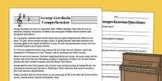 George Gershwin Reading Comprehension Activity