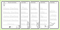 Trace the Words Activity Sheets to Support Teaching on Peter Pan