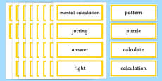 Year 2 Maths Vocabulary Word Cards Solving Problems