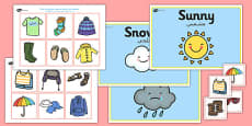Weather Clothes Sorting Activity Arabic Translation