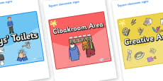 Yellow Themed Editable Square Classroom Area Signs (Colourful)