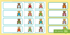 * NEW * Teddy Bear Themed Editable Drawer, Peg, Name Labels