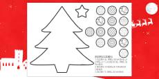 Ficha de motricidad fina..recortar: El árbol de Navidad