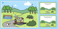 Park Scene and Question Cards Arabic Translation