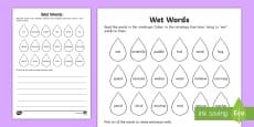 Wet Words Reading Activity Sheet