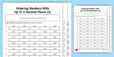 Ordering Numbers With Up To 3 Decimal Places Differentiated Activity Sheet Pack
