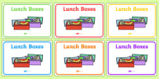 Lunch Boxes Display Signs