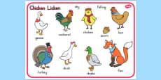 Chicken Licken Word Mat