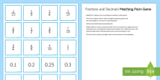 Matching Equivalent Fractions and Decimals Pairs Game