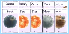 Year 5 Science Earth and Space Display Posters