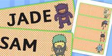 Monster Themed Drawer Peg Name Labels