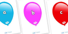 Phase 2 Phonemes on Balloons (Multicolour)