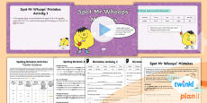 PlanIt Y1 Term 2A Assess and Review Spelling Pack