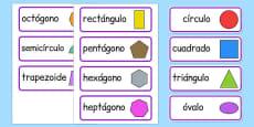 2D Shape Word Cards Spanish