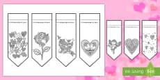 Marque-pages : Coloriages anti-stress - La Saint Valentin