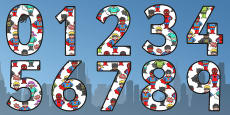 Superhero Themed A4 Display Numbers