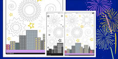 Firework Sky Pencil Control Activity Sheet
