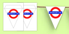 London Underground Bakerloo Line Themed Display Bunting