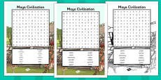 Maya Civilisation Wordsearch