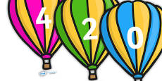 Counting in 2s on Hot Air Balloons (Stripes)