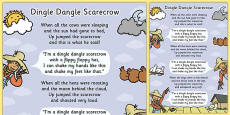 Dingle Dangle Scarecrow Nursery Rhyme Poster