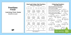 Year 2 Fractions Learning From Home Maths Activity Booklet English/Romanian
