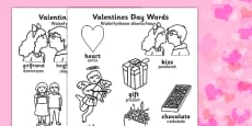 Valentine's Day Words Colouring Sheets Polish Translation