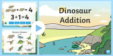 Dinosaur Themed Addition PowerPoint