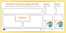 Back to School Summer Holidays Mind Map Activity Sheet