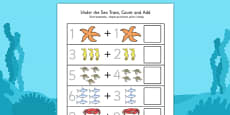 Under the Sea Trace Count and Add Activity Sheet Polish Translation