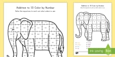* NEW * Addition To 10 Color By Numbers Activity Sheet