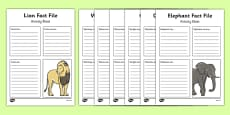 African Animals Fact File Activity Sheet