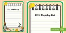 DIY Shop Role Play Shopping List