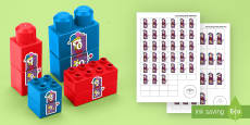 * NEW * Jack-in-the-Box Number Bonds to 10 Matching Connecting Bricks Game