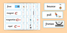 Forces and Motion Word Cards