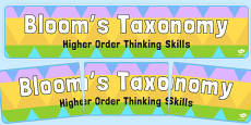 Bloom's Taxonomy Higher Order Thinking Skills Display Banner