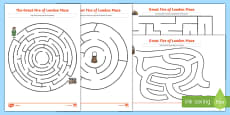 The Great Fire of London Differentiated Maze Activity Sheet