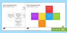 * NEW * Class Introduction Dice Nets English/Spanish
