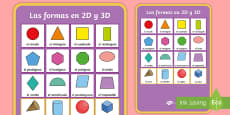 2D and 3D Shapes Display Poster Spanish