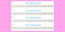 Numbers 1-20 Numbertrack