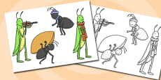 The Ant and the Grasshopper Stick Puppets