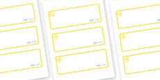 Yellow Themed Editable Drawer-Peg-Name Labels (Blank)