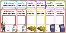 Classroom Monitor Display Signs (Weekly)
