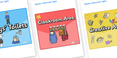Orange Themed Editable Square Classroom Area Signs (Colourful)