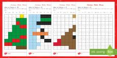Christmas Maths Mosaic Activity Sheets