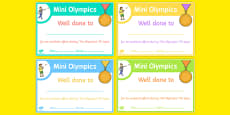 Mini Olympics Achievement Certificates