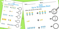 Up to 10 Addition Sheet to Support Teaching on Titch