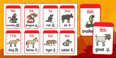 Mandarin Simplified Chinese New Year Animal Race Position Cards
