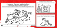Weihnachtsrechnen Plus und Minus bis 20 Arbeitsblätter